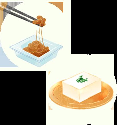 納豆1パック、木綿豆腐2/3丁